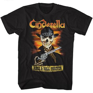 Cinderella Rock Band T-Shirt Rock and Roll Forever Black Tee