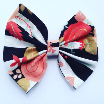Floral-Flower Print-Hair Bow-Hair Accessories-Cotton Hair Bow-Back to School Bows-Handmade-Hair Clips-Hair Barette-Kid's Hair Bow-