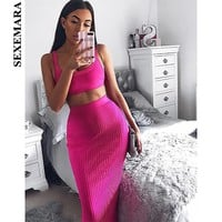 BOOFEENAA Pink Womens Knitted Two Piece Sets Crop Top and Skirt High Quality Winter Maxi Bodycon Dress Club Outfits C55-AB99