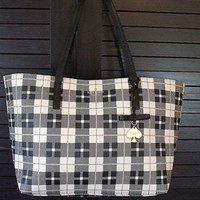 Kate Spade Blk/White/Gold Check Out Of The Office Shoulder Tote Bag Mint