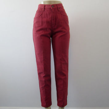 Vintage Rust High Waisted Skinny Jeans Lizwear Brick Red High Waist Denim Jeans 28 Womens 8 Hipster Grunge