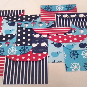 Handmade 5x7 Envelopes Set of 12 Nautical Red White and Blue Whales- Scrapbook Paper Designs