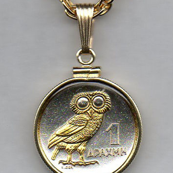 Gorgeous 2-Toned Gold on Silver Greek nickel size Owl,  Coin Necklaces