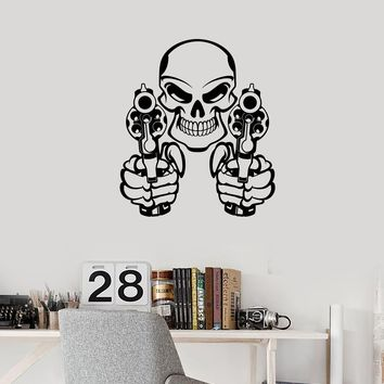 Vinyl Wall Decal Skull Guns Gangster Weapons Teen Room Decor Art Stickers Mural (ig5626)