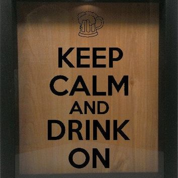 "Wooden Shadow Box Wine Cork/Bottle Cap Holder 9""x11"" - Keep Calm and Drink On with Mug"