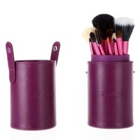 TOMTOP 13pcs Professional Makeup Brush Set Cosmetic Brush Kit Makeup Tool with Cup Holder Case (Brown)