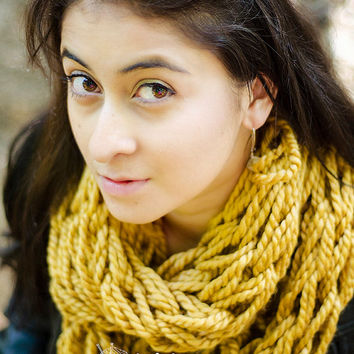 Knit Infinity Scarf, Infinity Scarf, Scard, Gold Chunky Arm Knit Infinity Scarf- Mustard Yellow- Yellow Arm Knitted Eternity Scarf