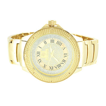 Custom Mens 14k Gold Finish Genuine Diamond Bezel Iced Dial Ice Mania Watch