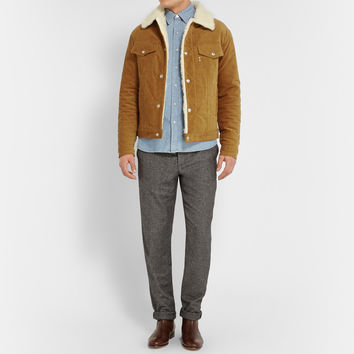 Maison Kitsuné - Faux Shearling and Corduroy Aviator Jacket | MR PORTER