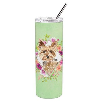 Yorkie Green Flowers Double Walled Stainless Steel 20 oz Skinny Tumbler CK4357TBL20
