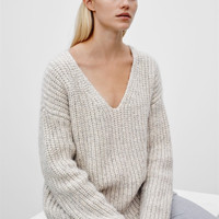 Milky White Long Sleeve V-Neck Sweater