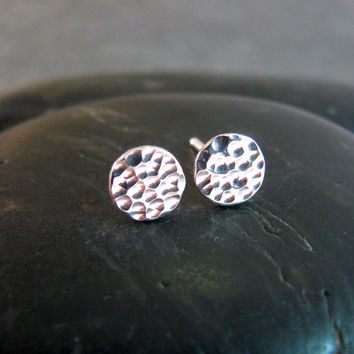 Round Sterling Silver - Ball Peen Hammered Texture - Handcrafted Stud Earrings 6mm - The Little Things