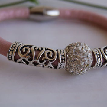 Light Pink Faux Leather Cord Bracelet Adorned with Micro Pave & Decorative Beads. Eco-Friendly.