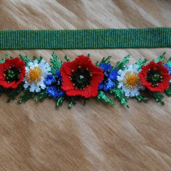"Ukrainian belt with poppies, necklace with poppies, Ukrainian Gerdan,  Set Beaded ""Spring"" ,Ukrainian necklace"