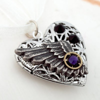 Steampunk filigree heart locket with purple and black Swarovski crystals, wing and vintage watch parts with ivory organza- Wedding jewelry