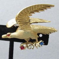Vintage Signed PELL Eagle Red White & Blue Rhinestone Pin
