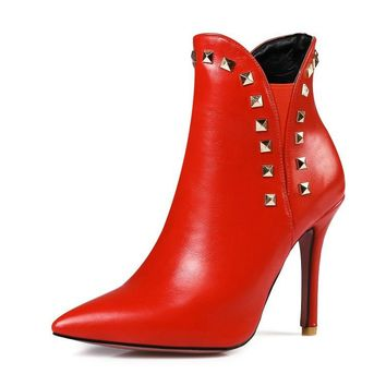 Stiletto Heel PU Pointed Toe Boots