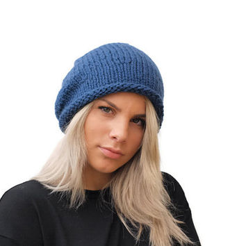 Denim Blue chunky hand knit hat / wool hat / winter accessory / Blue slouchy hat / Wool Women Beanie Hat