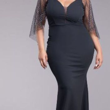 DCCKBG3 PLUS SIZE- Fashionable Sexy Long Black Maxi Dress Glitter Sleeves