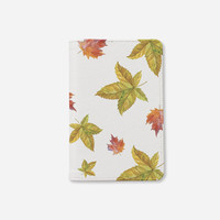 Fall collection Autum leaves passport holder leather passport cover personalized passport cover fall traveling passport cover