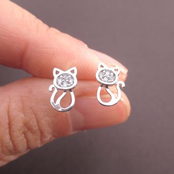 I Love Cats Kitten Shaped Rhinestone Stud Earrings in Silver