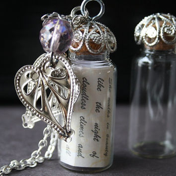 glass vial necklace poem in a bottle necklace heart charm pendant necklace Sterling silver jewelry Ready to ship boho bridal gift LOVE STORY