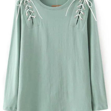 Green Lace-up Long Sleeve Top