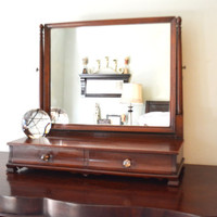 Gentleman's Dresser Top Mirror, Dresser Mirror with Drawers, Man's Shaving Mirror, Gentlemen's Vanity Mirror, Wooden Mirror, Tabletop Vanity
