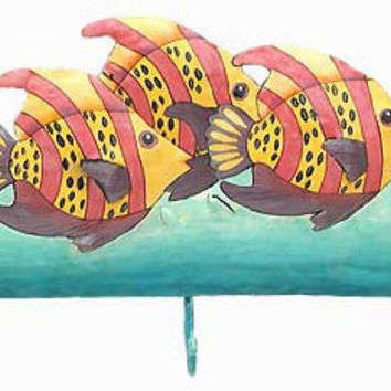 "Tropical Fish Wall with 3 Hooks - Pink - Yellow Hand Painted Metal Home Decor - Tropical Bathroom Decor - 10""  x 15"" -K-7103-3-R"