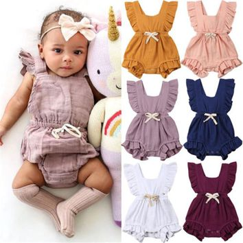 Newborn Baby Girls Ruffle One-Pieces Sleeveless Solid Color Backless Bow Romper Jumpsuit Outfits Summer Cotton Girl Clothes