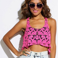 FUCHSIA CROTCHET CROP TOP