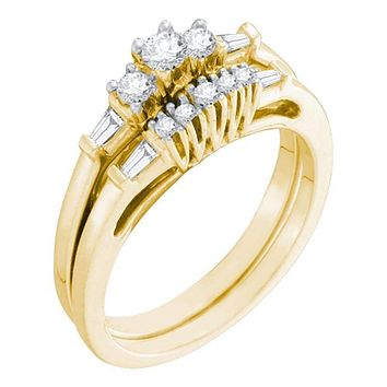 10kt Yellow Gold Women's Round Diamond 3-Stone Bridal Wedding Engagement Ring Band Set 3/8 Cttw - FREE Shipping (US/CAN)