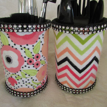 Set of 2 Make Up Brush Pencil Holder Desk Organizers Nursery Baby Shower Wedding Decor