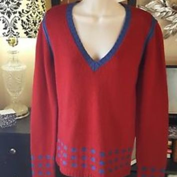 YOON Anthropologie red Sweater m medium Knit Top New NWT RTL  $158