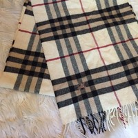 BURBERRY Brown Plaid House Check Wool Fringe Trim Scarf