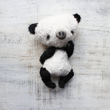 OOAK teddy bear panda artist bear 8 inches black white