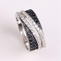 JEXXI White Black Cubic Zircon Crytal Party Rings For Men And Women Fashion Sterling Silver Engagement Wedding Rings For Unisex