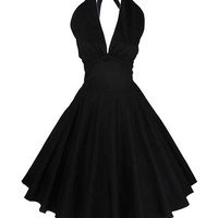 Vintage Hepburn Style Halter Neck Swing Dress