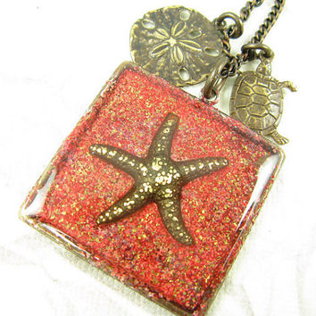 Red starfish necklace, Beach lover necklace, Sand Dollar and Turtle charms