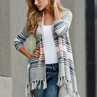 Striped Fringe Cardigan Sweater