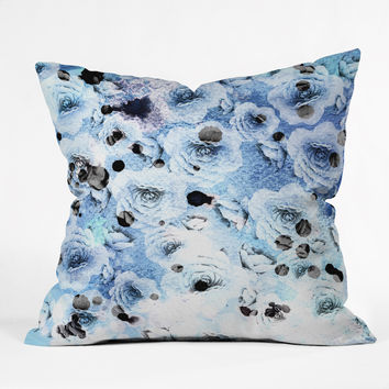 CayenaBlanca Blue Roses Outdoor Throw Pillow