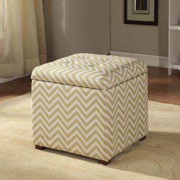 Citron and Cream Chevron Storage Ottoman