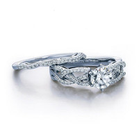 1-1/3 CT. T.W. Diamond Woven Shank Bridal Set in 14K White Gold
