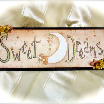 "Nursery Decor Sign ""Sweet Dreams"", Baby Decor, Nursery Wall Decor, Nursery Wall Plaque"