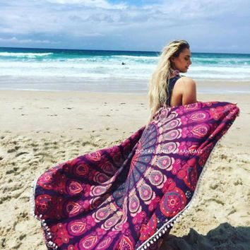 Purple Peacock Beach Blanket & Tapestry