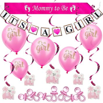 "Baby Shower Party Decoration Set for Girl. All-in-1 Perfect Bundle & the Hottest Favors (37 psc) - ""It's A Girl"" Banner & Balloons, ""Mommy to Be"" Sash, Elephant Swirls & Large Acrylic Pacifiers. Pink"