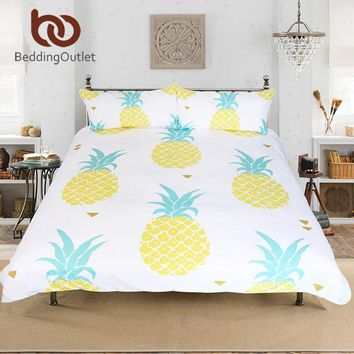 BeddingOutlet Dropshipping Pineapple Bedding Set Sweet Printed Fruit Bedsheet Soft Microfiber Duvet Cover Set 3 Pcs 4 Sizes