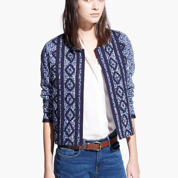 Blue Long Sleeve Diamond Embroidered Padded Coat