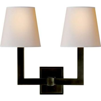 Visual Comfort and Company SL2820BZ-NP Bronze Two-Light Square Tube Wall Fixture