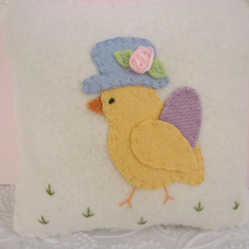 Felt  Pillow Easter Chick In Bonnet  Easter Egg Primitive Decoration
